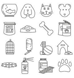 set of icons in line style pet shop animals vector image