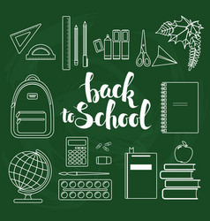 Set of linear school items vector