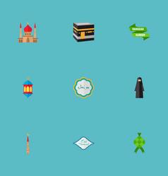 Set of ramadan icons flat style symbols with vector