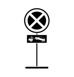 Silhouette no parking road sign crane car vector