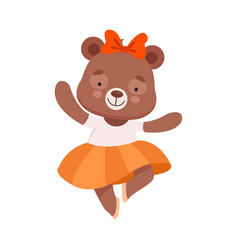 Smiling bear character wearing ballet skirt vector