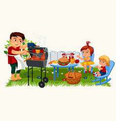 Smiling father grilling chicken for happy children vector