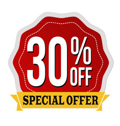 Special offer 30 off label or sticker vector