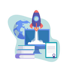 start up concept business project rocket on vector image