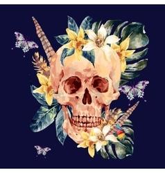 Summer watercolor skull tropical leaves vector