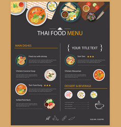 Thai food restaurant menu template flat des vector