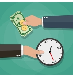 Two cartoon businessman hands cash and clocks vector image