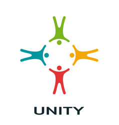 Unity concept people with different skin vector