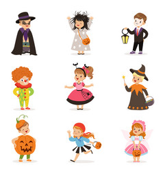 ute happy little kids in different colorful vector image