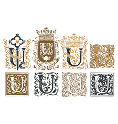 Vintage initial letter a with baroque decorations vector