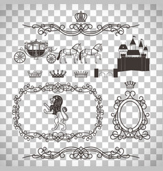 vintage royal elements in line style vector image