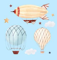 Watercolor air baloon vector