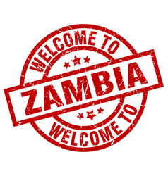 Welcome to zambia red stamp vector