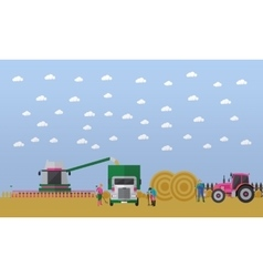 Wheat harvesting combine harvester tractor vector