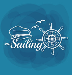 white lettering sailing vector image