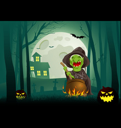 witch stirring concoction in cauldron in the vector image