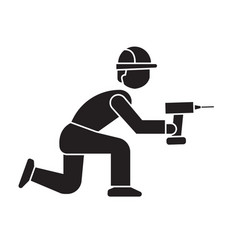 worker with screwdriver black concept icon vector image
