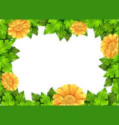 yellow flower frame template vector image