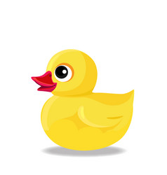 Yellow rubber or plastic duck toy for bath vector