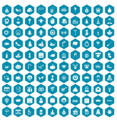 100 holidays icons sapphirine violet vector image vector image