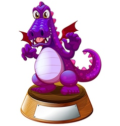 A mad dragon above the trophy stand with an empty vector image vector image