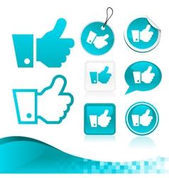 Blue Like Hand Design Kit vector image