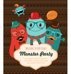 Monster Party Card Design vector image vector image
