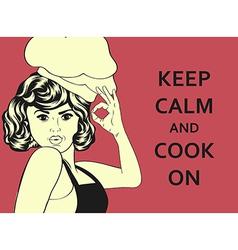 pop art woman cook vector image vector image