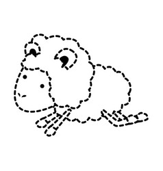 sheep animal jumping dotted silhouette on white vector image