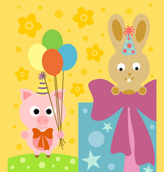 cartoon background with funny pig and rabbit vector image vector image