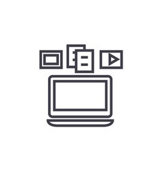 content syncinglaptop media line icon vector image