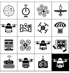 Drone icons black vector