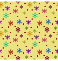 Polka dot and flower seamless pattern vector image vector image