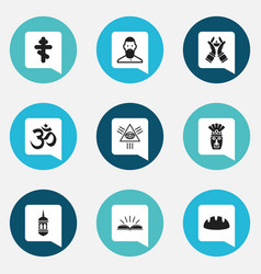 set of 9 editable religion icons includes symbols vector image vector image
