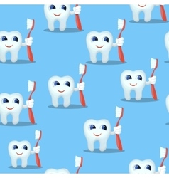 Blue seamless pattern with teeth characters kids vector image vector image