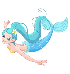 Cute Mermaid swimming vector image vector image