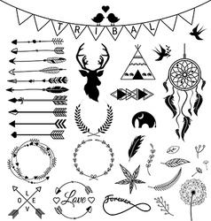 Hand drawn arrows tribal designs vector