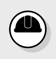 hardhat sign flat black icon in white vector image vector image