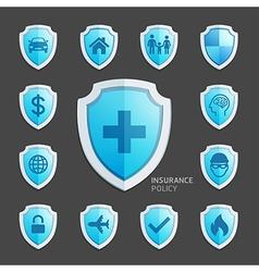 Insurance policy blue shield icon design vector image