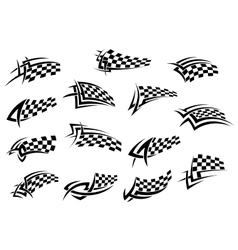Racing sport checkered flag icons vector image vector image
