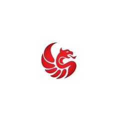 Silhouette style logo icon template Phoenix vector image