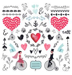 wedding graphic set arrows hearts laurel vector image
