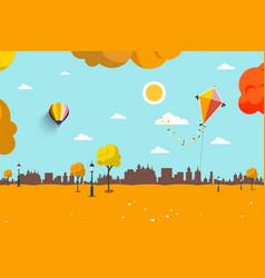 autumn empty city park flat design landscape vector image vector image