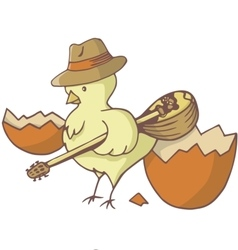 easter chick bouzouki vector image vector image