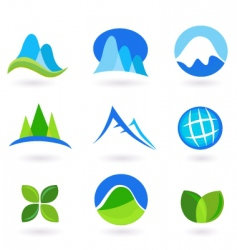 nature and mountains icon set vector image