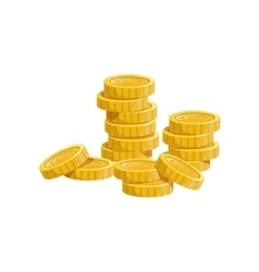 Pile of golden coins hidden treasure and riches vector