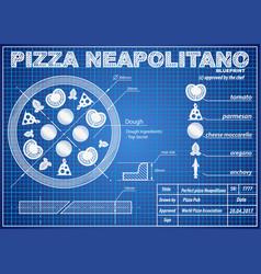 pizza neapolitano ingredients blueprint scheme vector image vector image