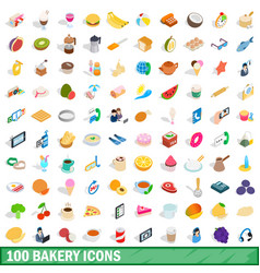100 bakery icons set isometric 3d style vector image