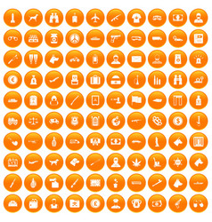 100 smuggling icons set orange vector