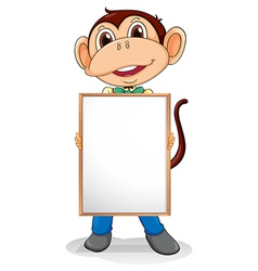 A smiling monkey holding an empty board vector